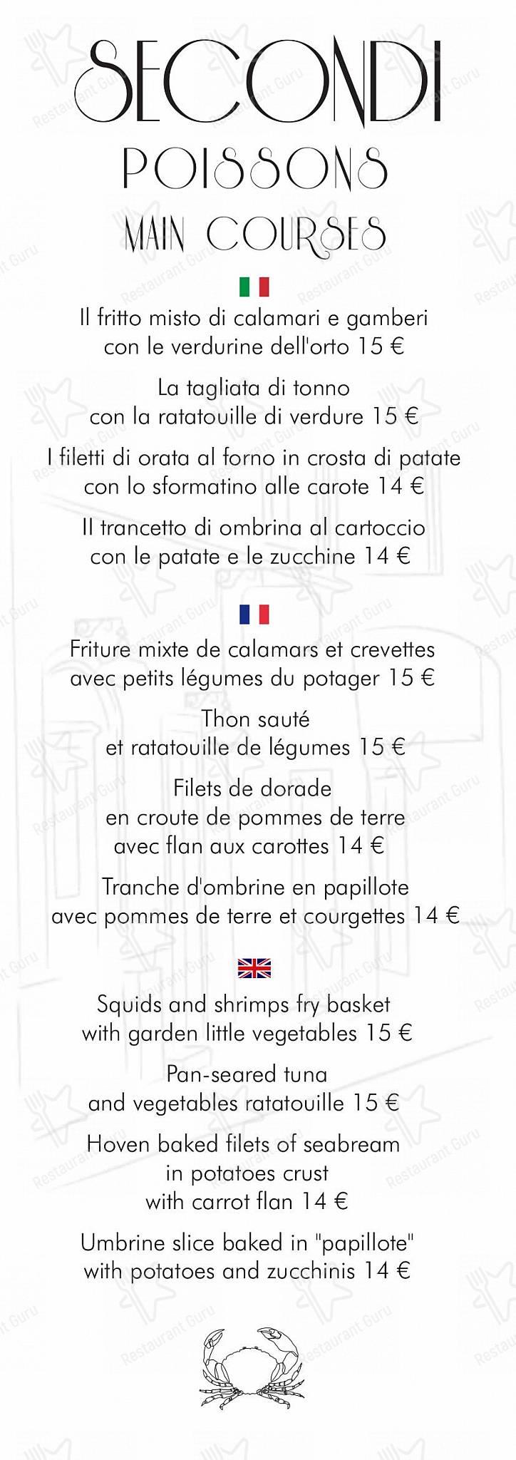 Menu per La Gritta Bordigotta ristorante