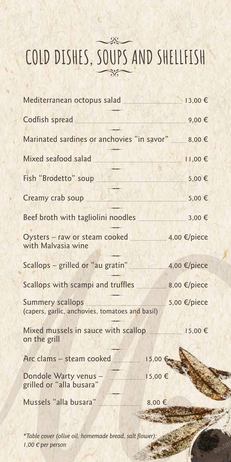 Restavracija Hotela Marina menu