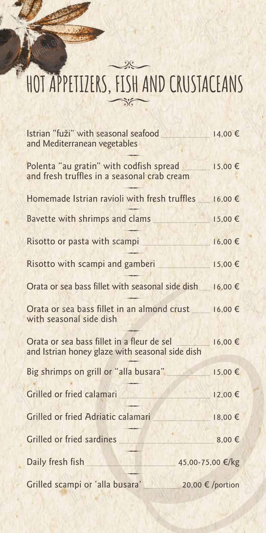 Menu for the Restavracija Hotela Marina restaurant