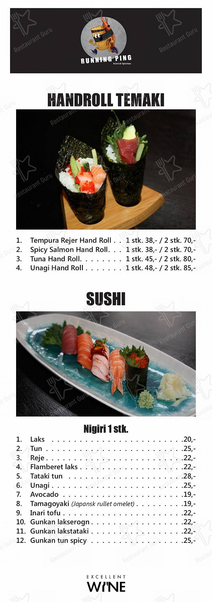 Running Ping menu - dishes and beverages