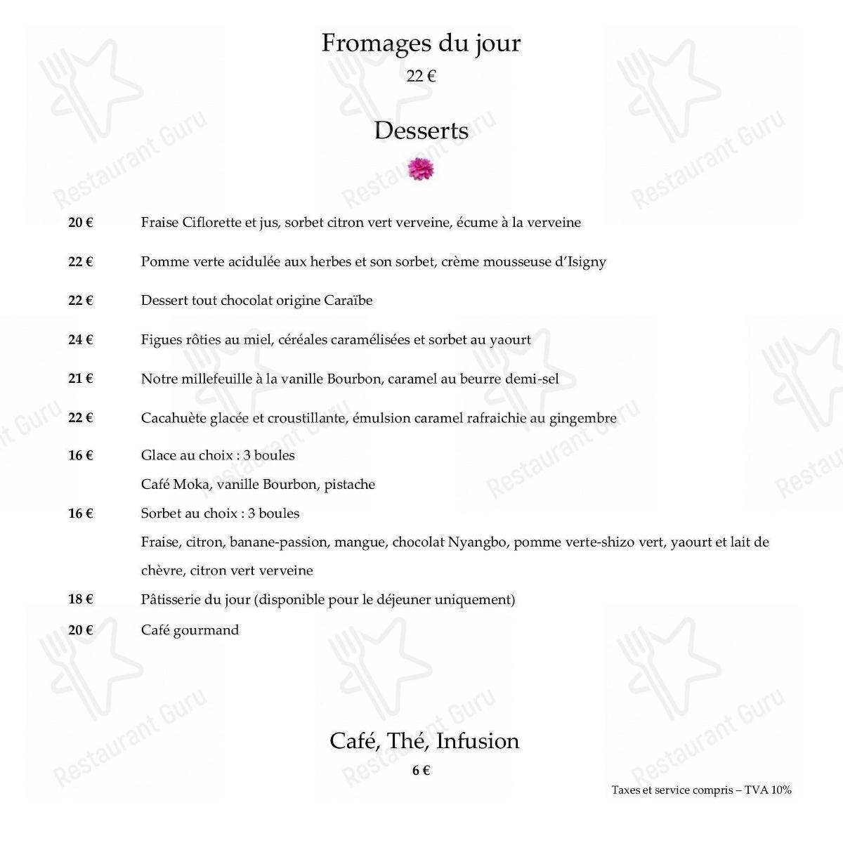 Взгляните на меню 114, Faubourg