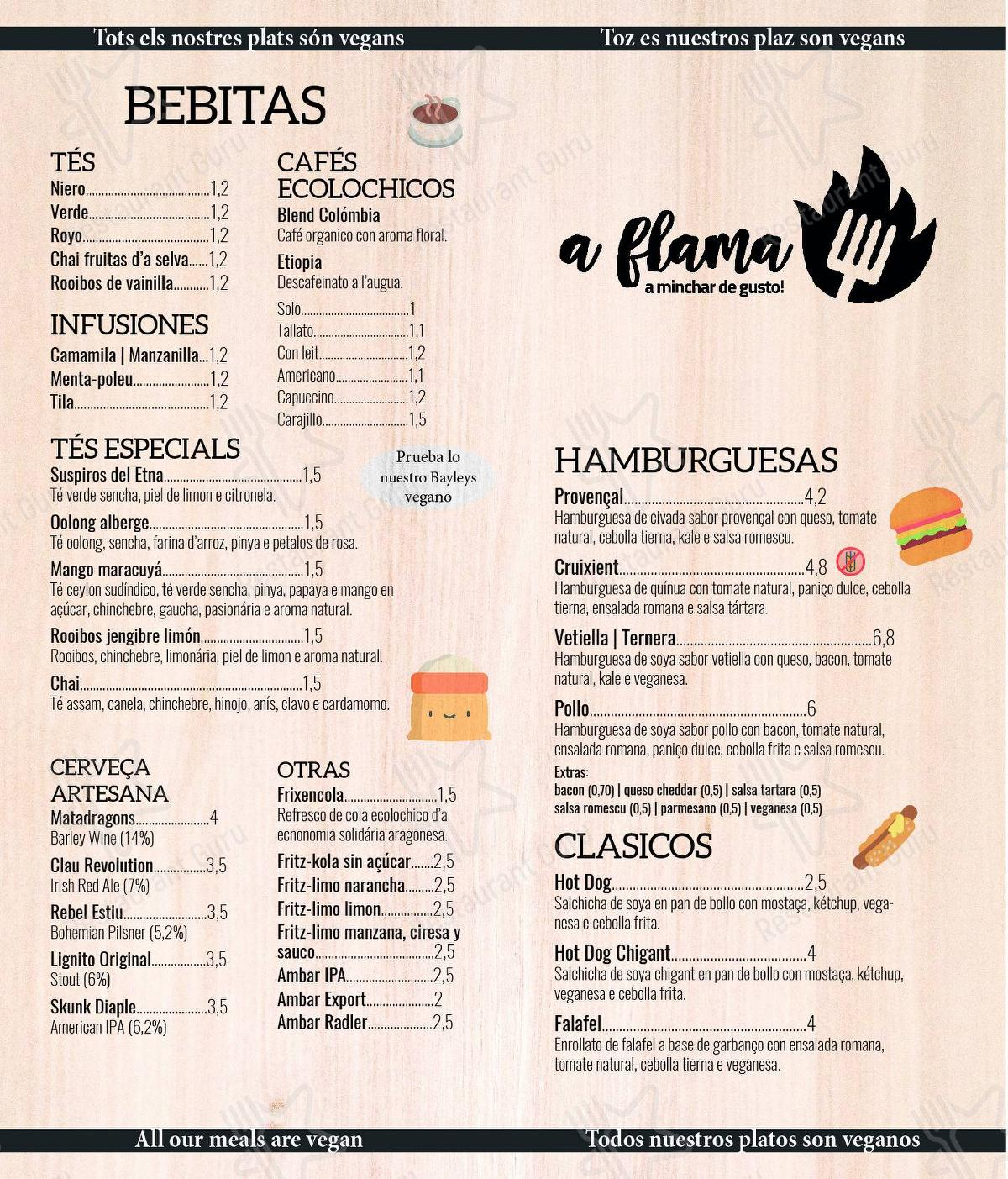 A Flama menu - dishes and beverages