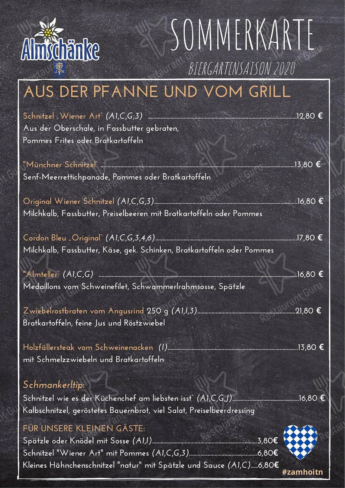Speisekarte Von Gasthaus Almschanke Restaurant Ingolstadt