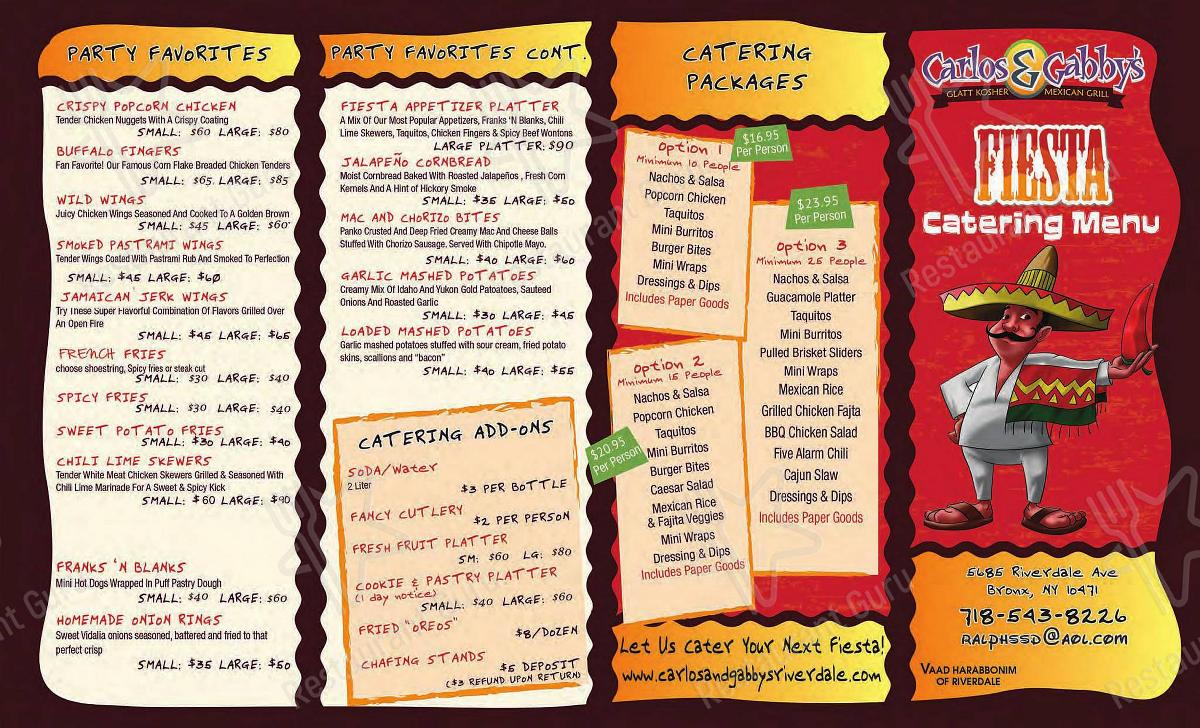Carlos and Gabby's menu - meals and drinks