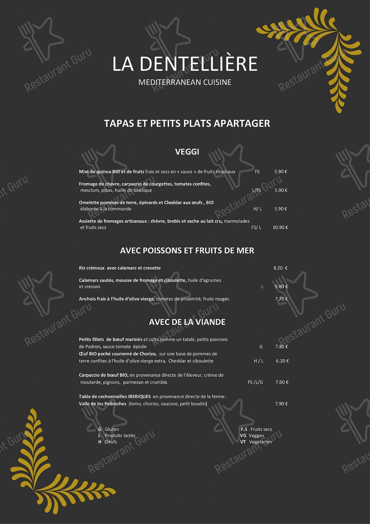 La Dentellière menu - dishes and beverages