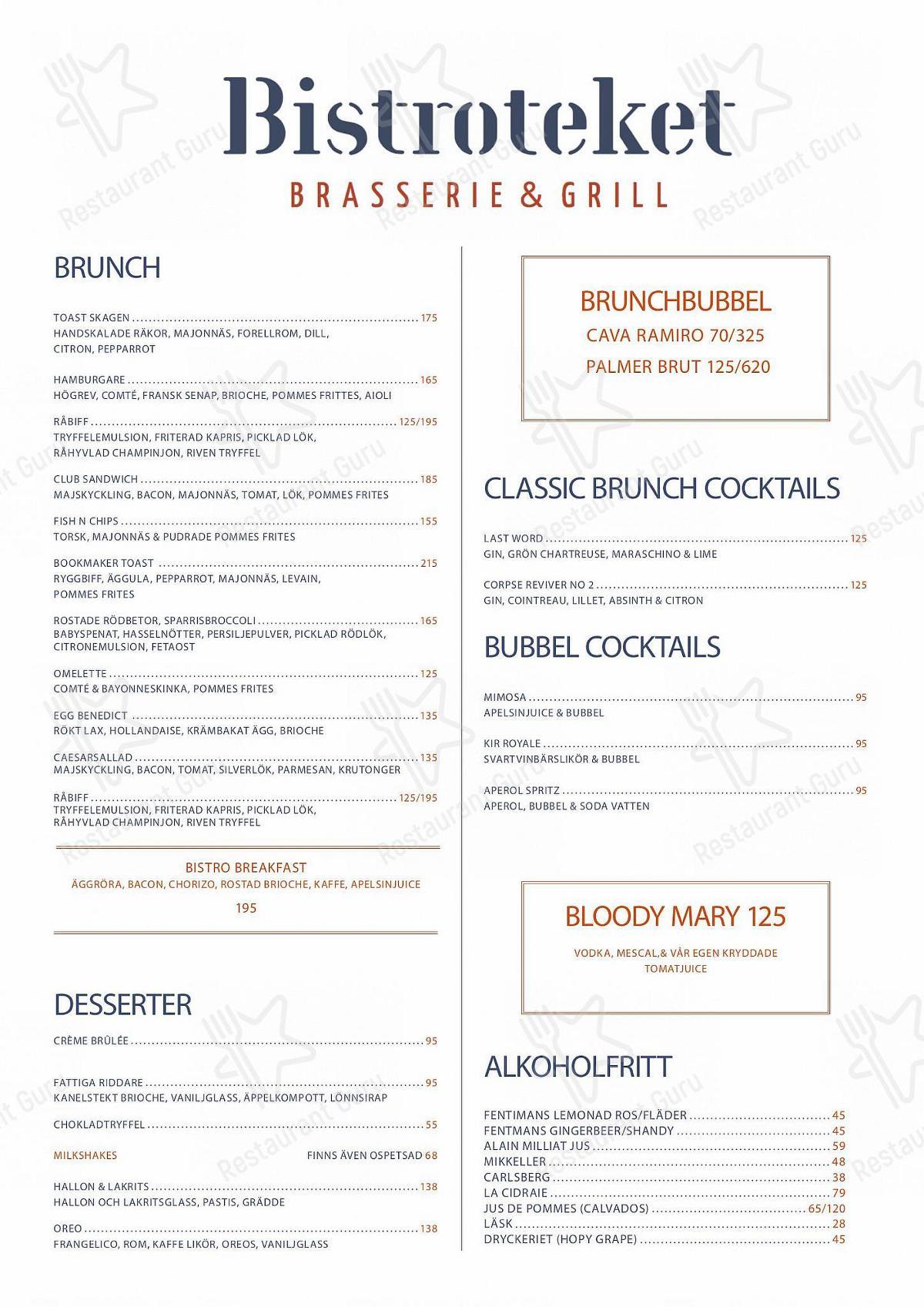 Bistroteket menu - meals and drinks