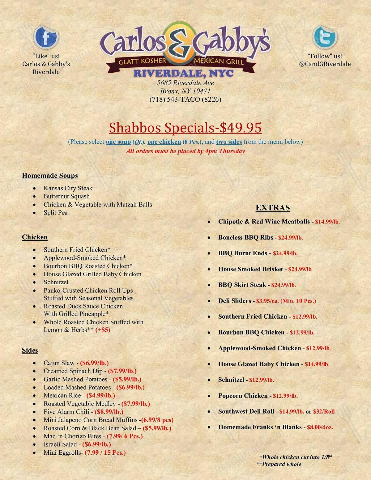 Carlos and Gabby's menu