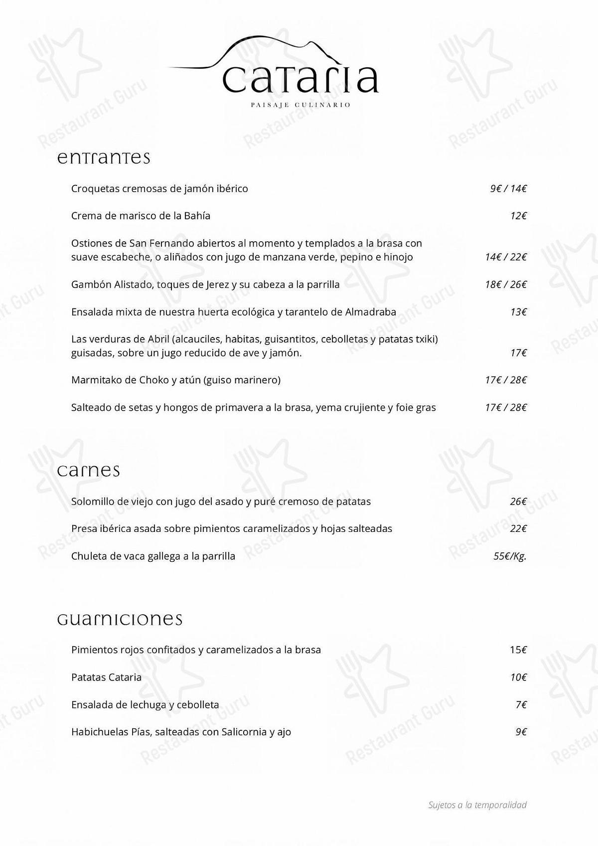 Mira la carta de Restaurante Cataria
