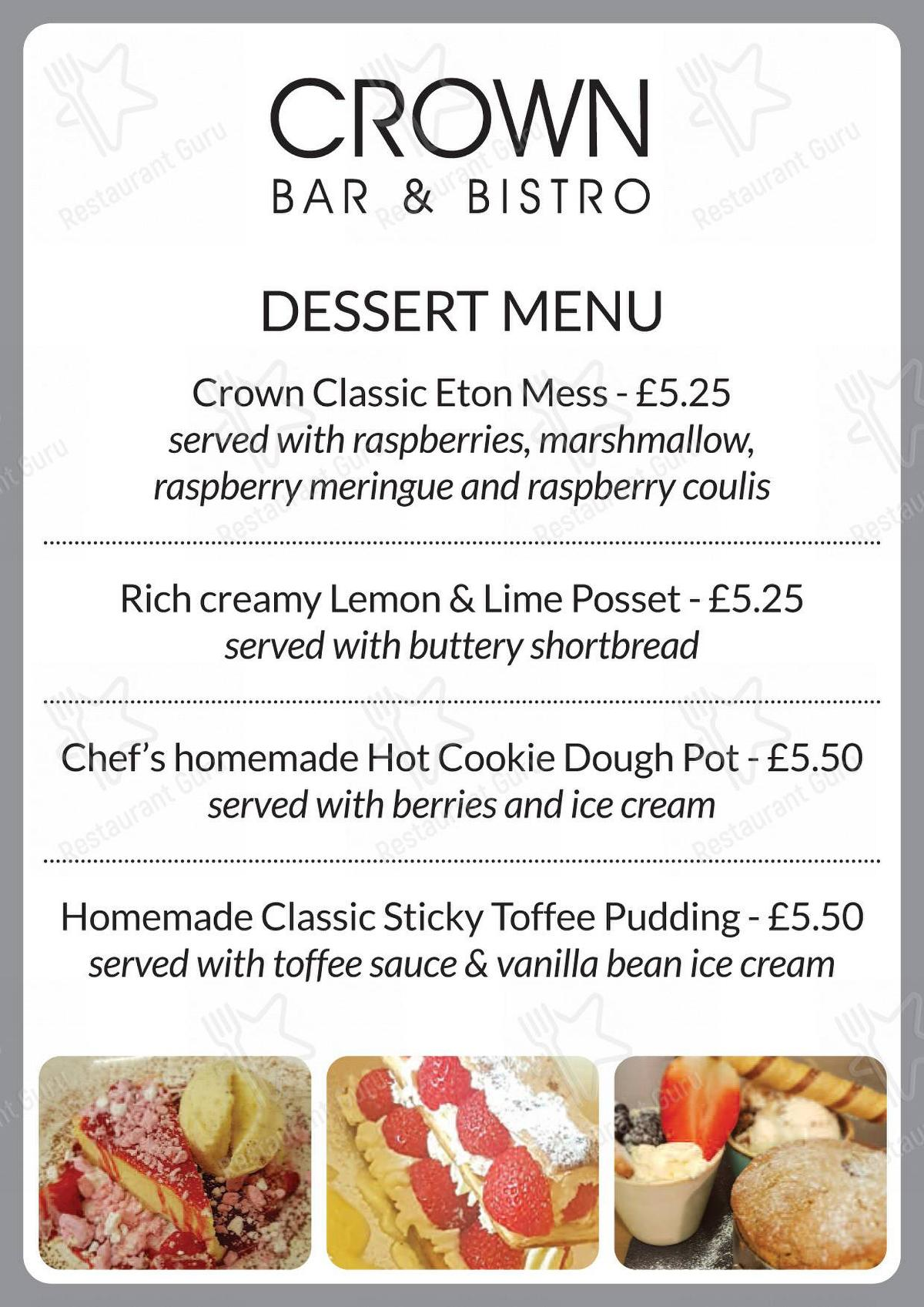 Menu for the The Crown Bar & Bistro restaurant