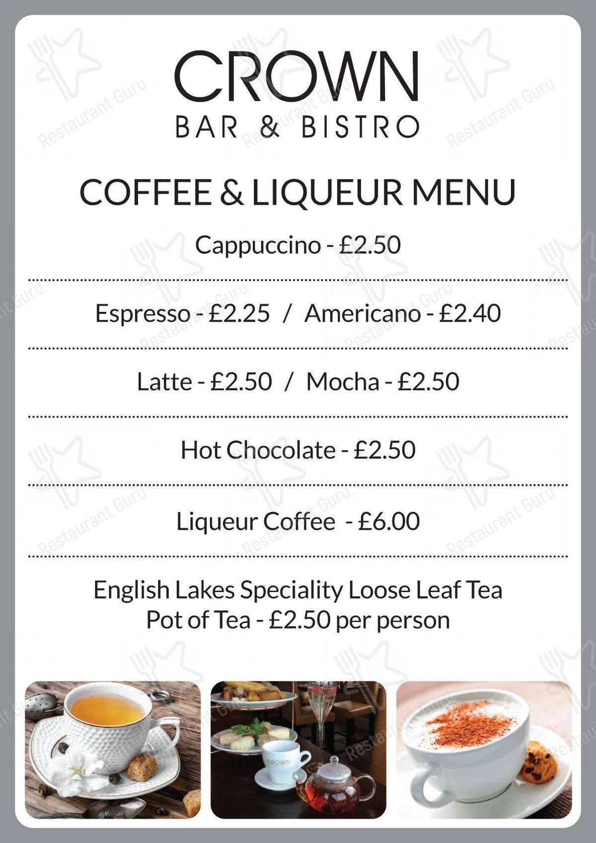 The Crown Bar & Bistro menu - dishes and beverages