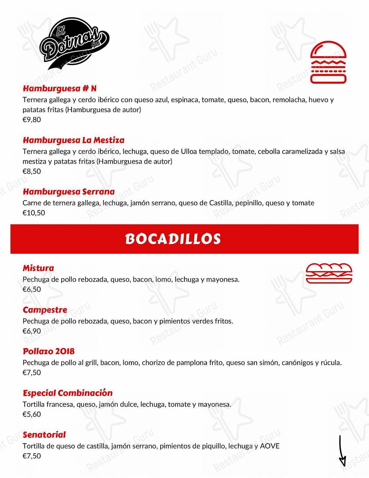 Carta de El Dotmas Bar restaurante