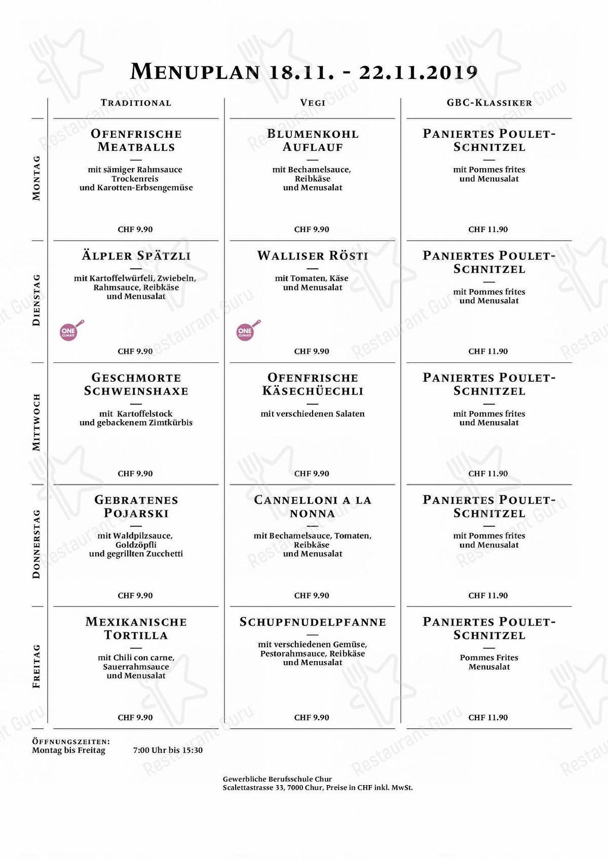 Gewerbliche Berufsschule menu - meals and drinks