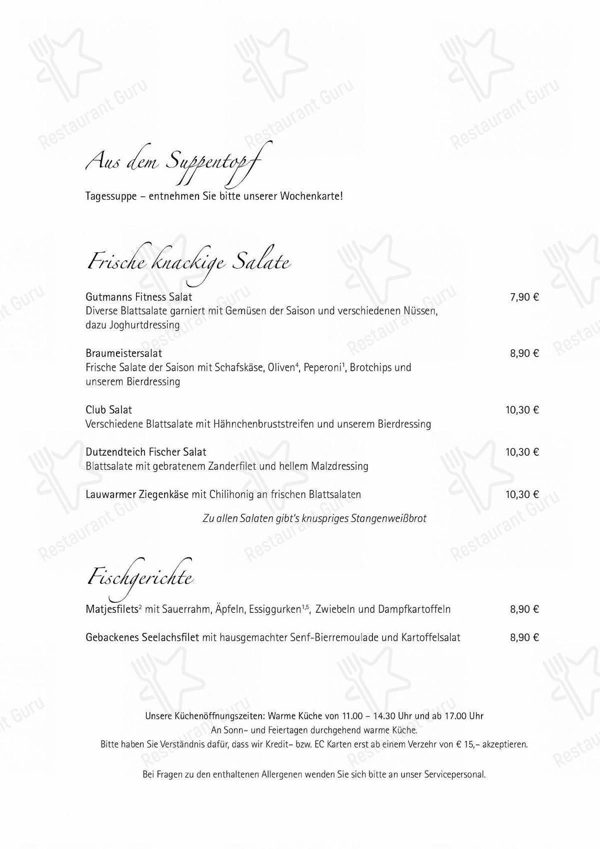 Menu At Gutmann Am Dutzendteich Restaurant Nuremberg