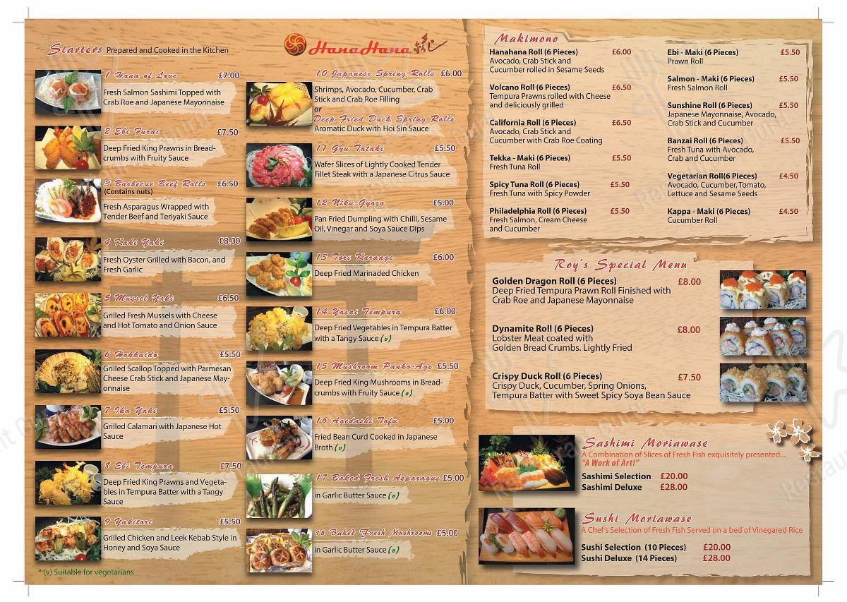Меню для посетителей ресторана Hanahana