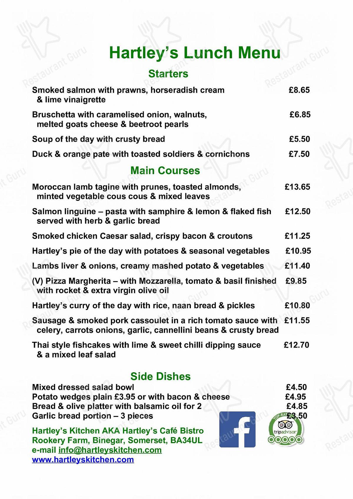 Check out the menu for Hartleys Kitchen