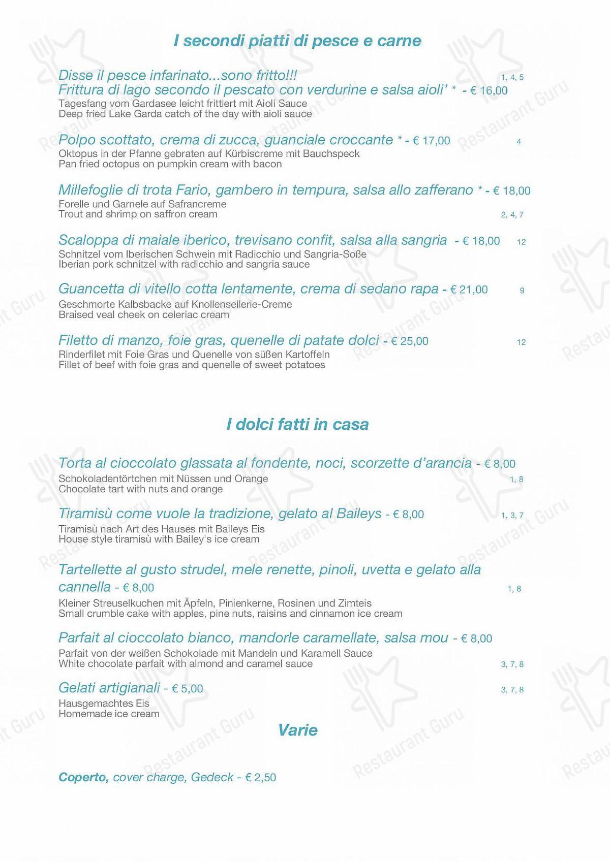 Menu di Ristorante La Darsena - piatti e bevande