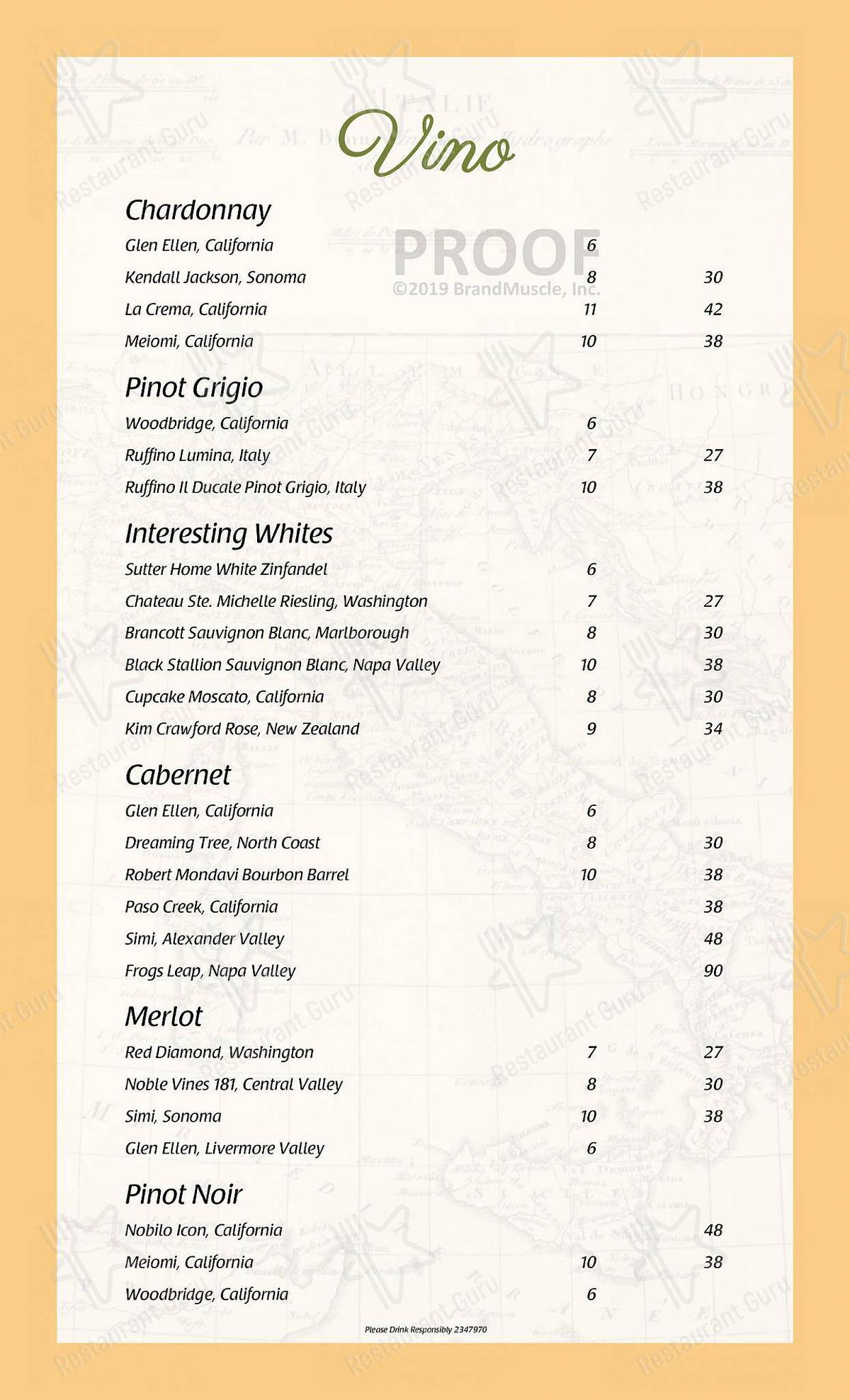 La Gondola menu