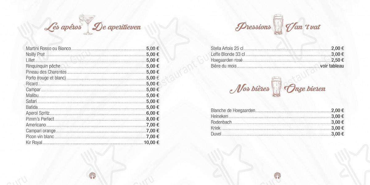 Liam's menu - meals and drinks