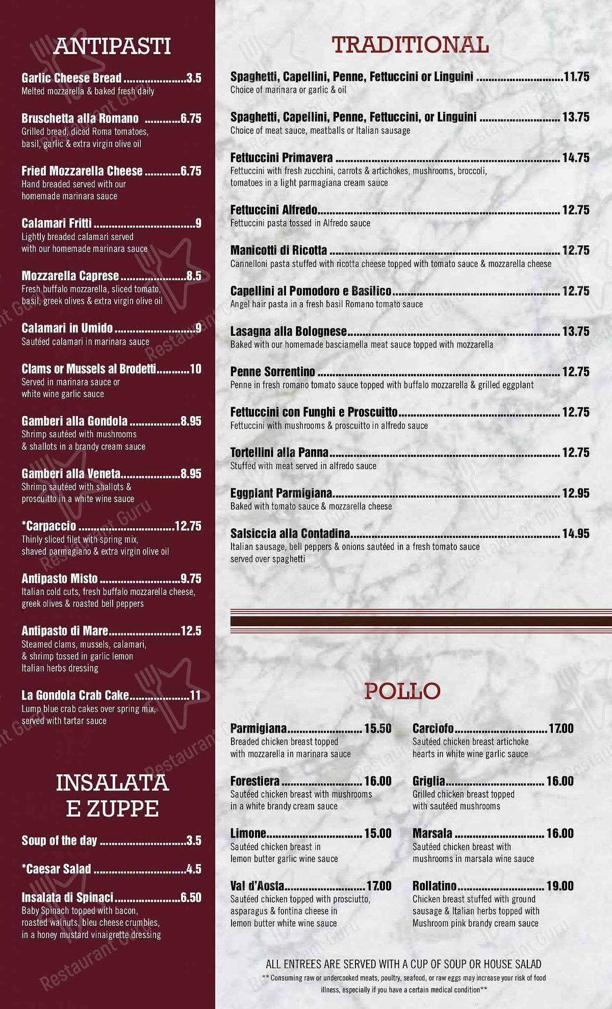 Dinner Menu for the La Gondola pub & bar