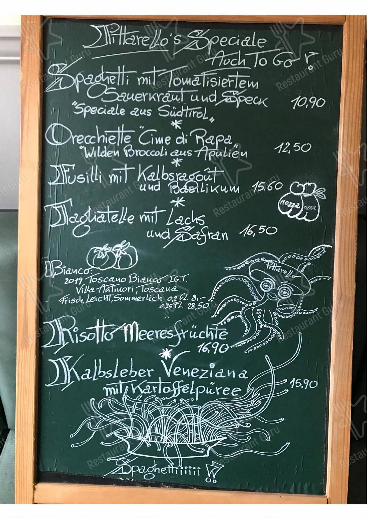 Pittarello Speisekarte - Gerichte und Getränke