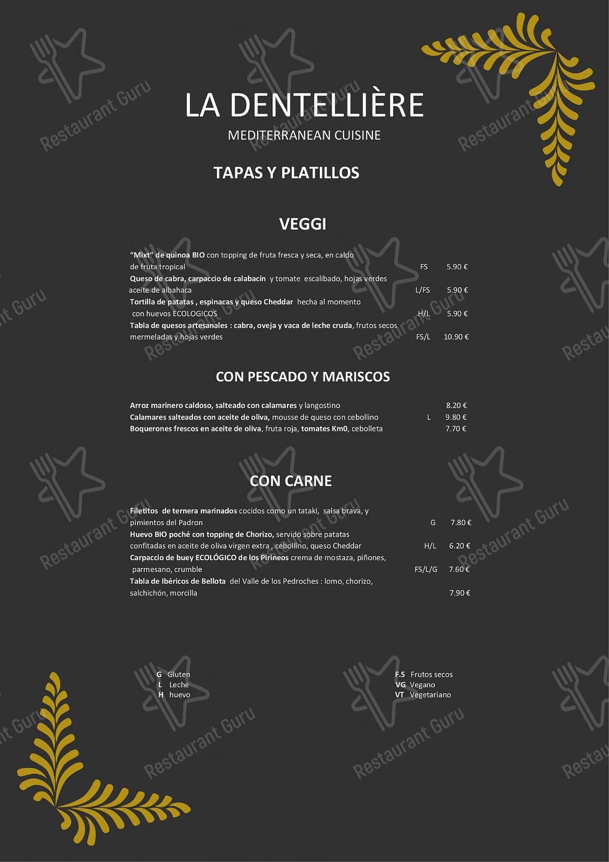 Check out the menu for La Dentellière