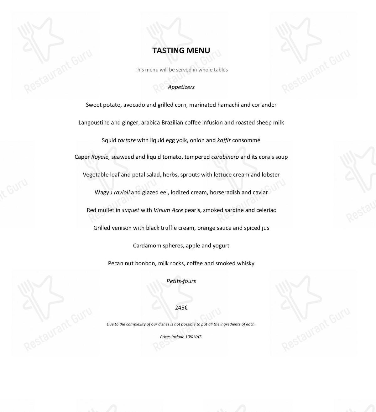 Check out the menu for Lasarte