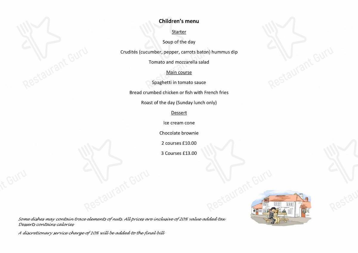 Menu for the The Waggoners pub & bar