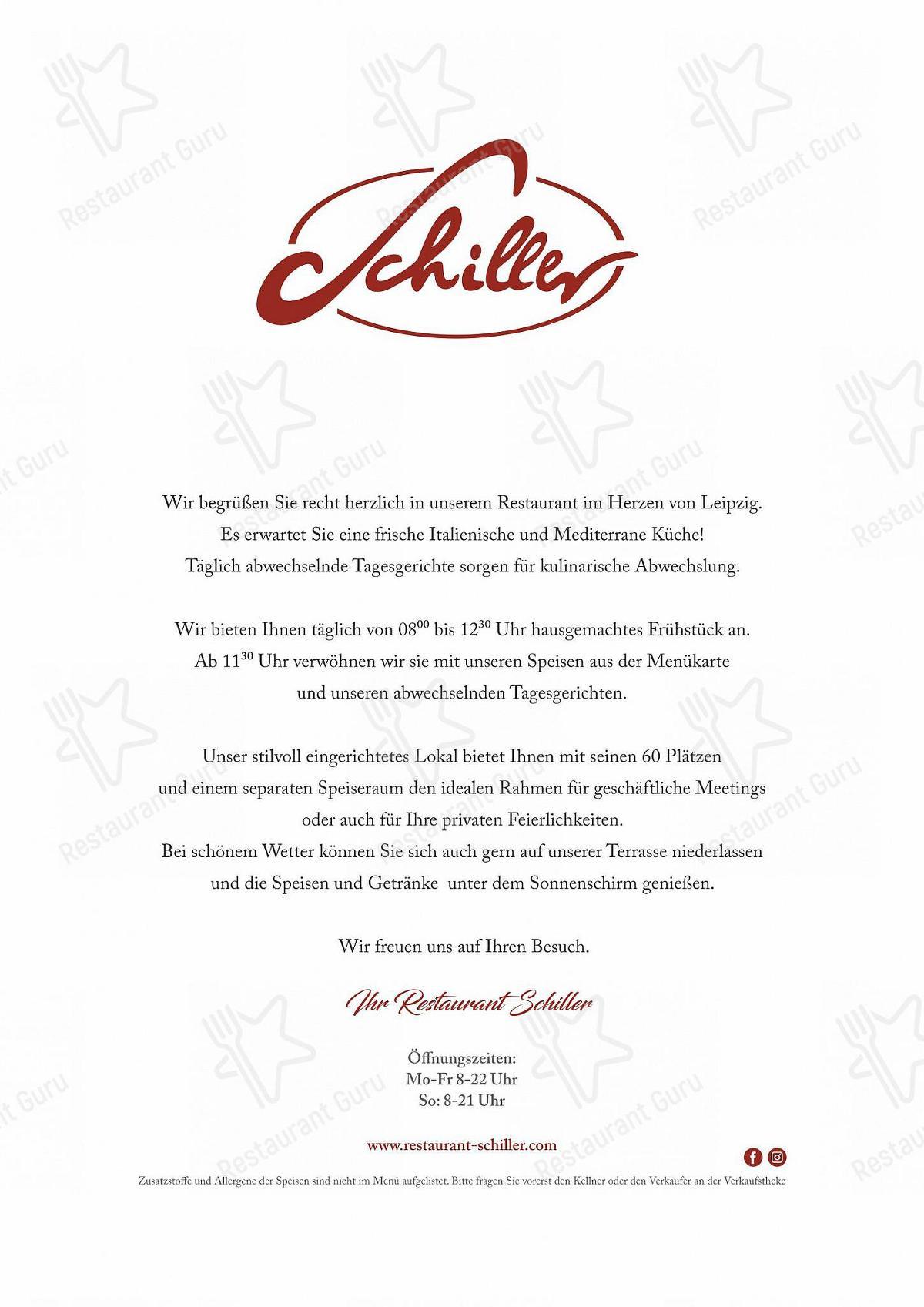 Carta de Schiller - comidas y bebidas
