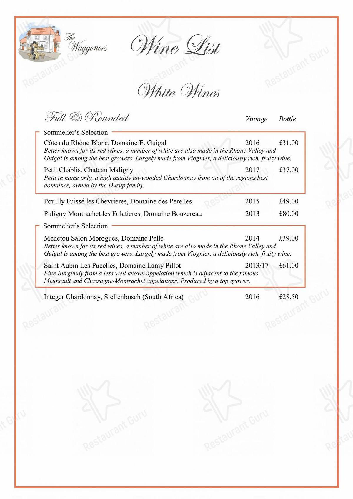 The Waggoners menu - meals and drinks