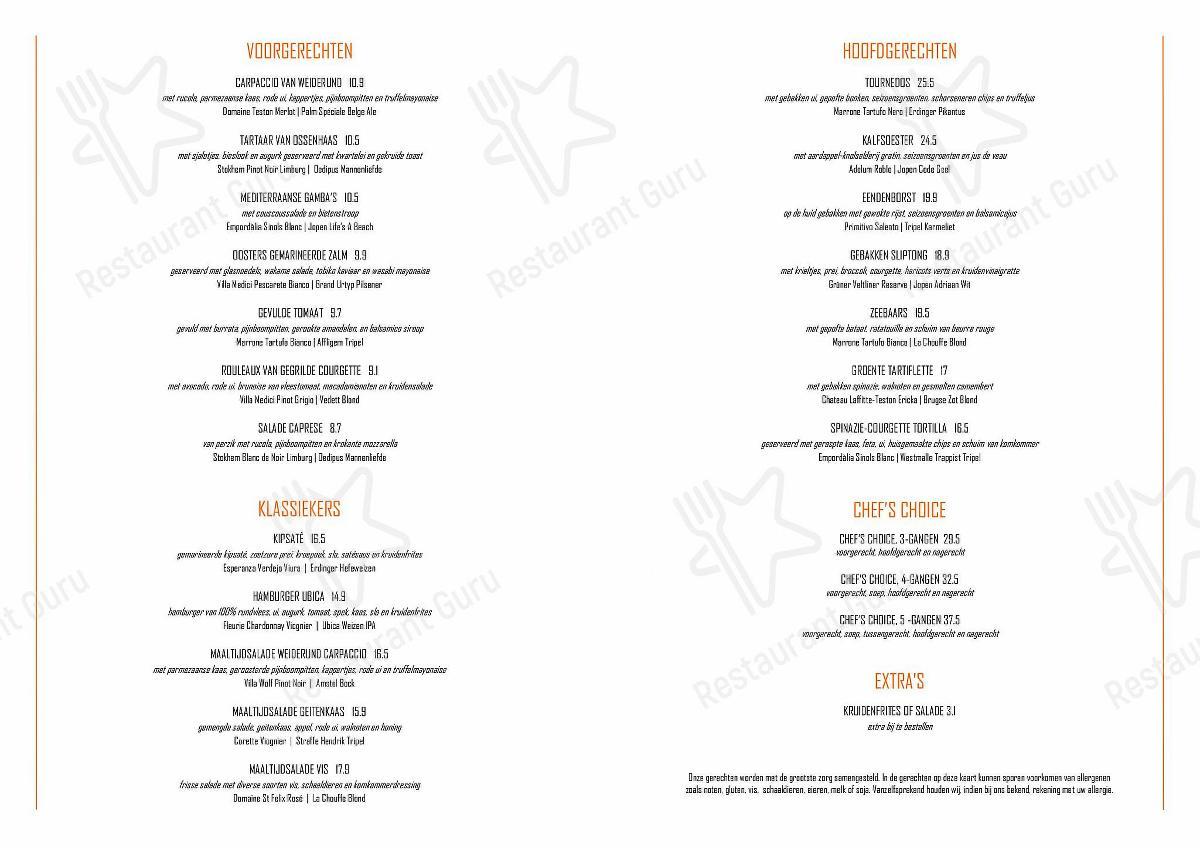 Ubica menu - dishes and beverages