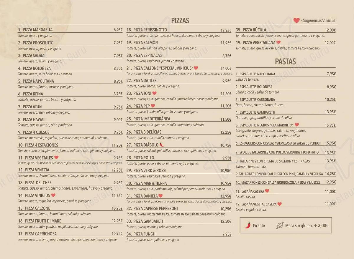Carta de Vinicius - platos y bebidas