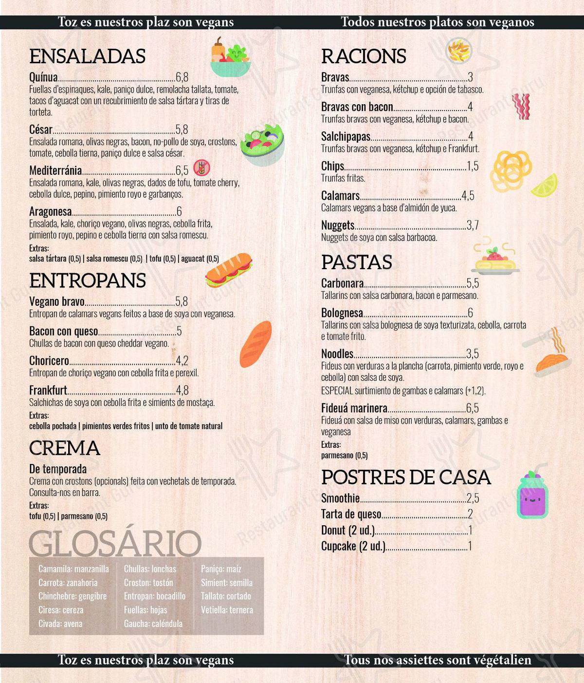 A Flama menu - meals and drinks