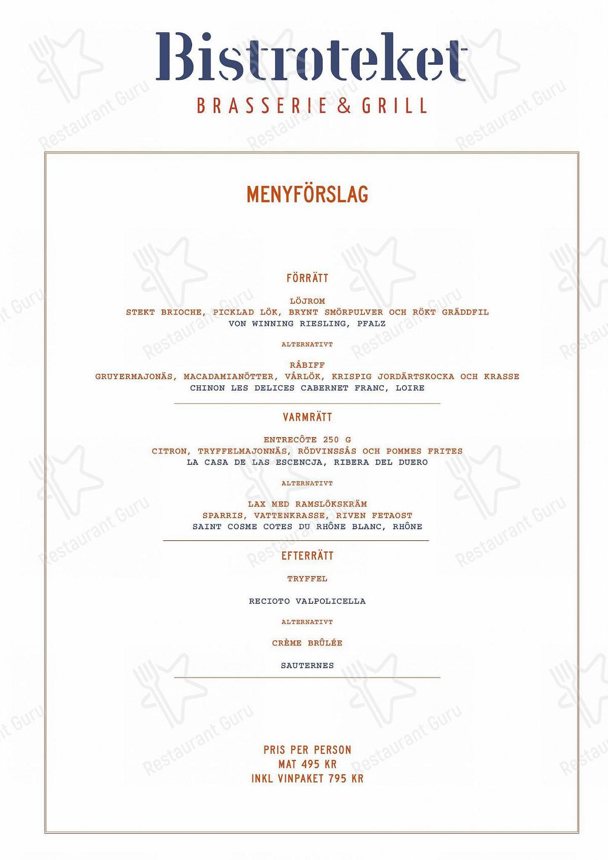 Bistroteket menu