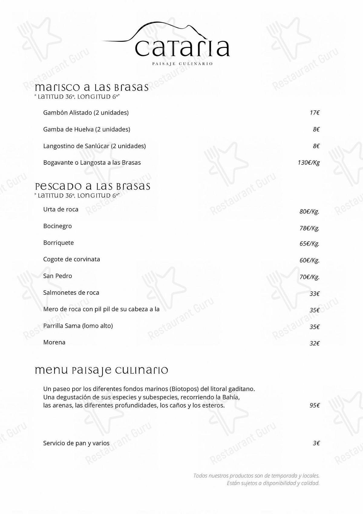 Carta de Restaurante Cataria