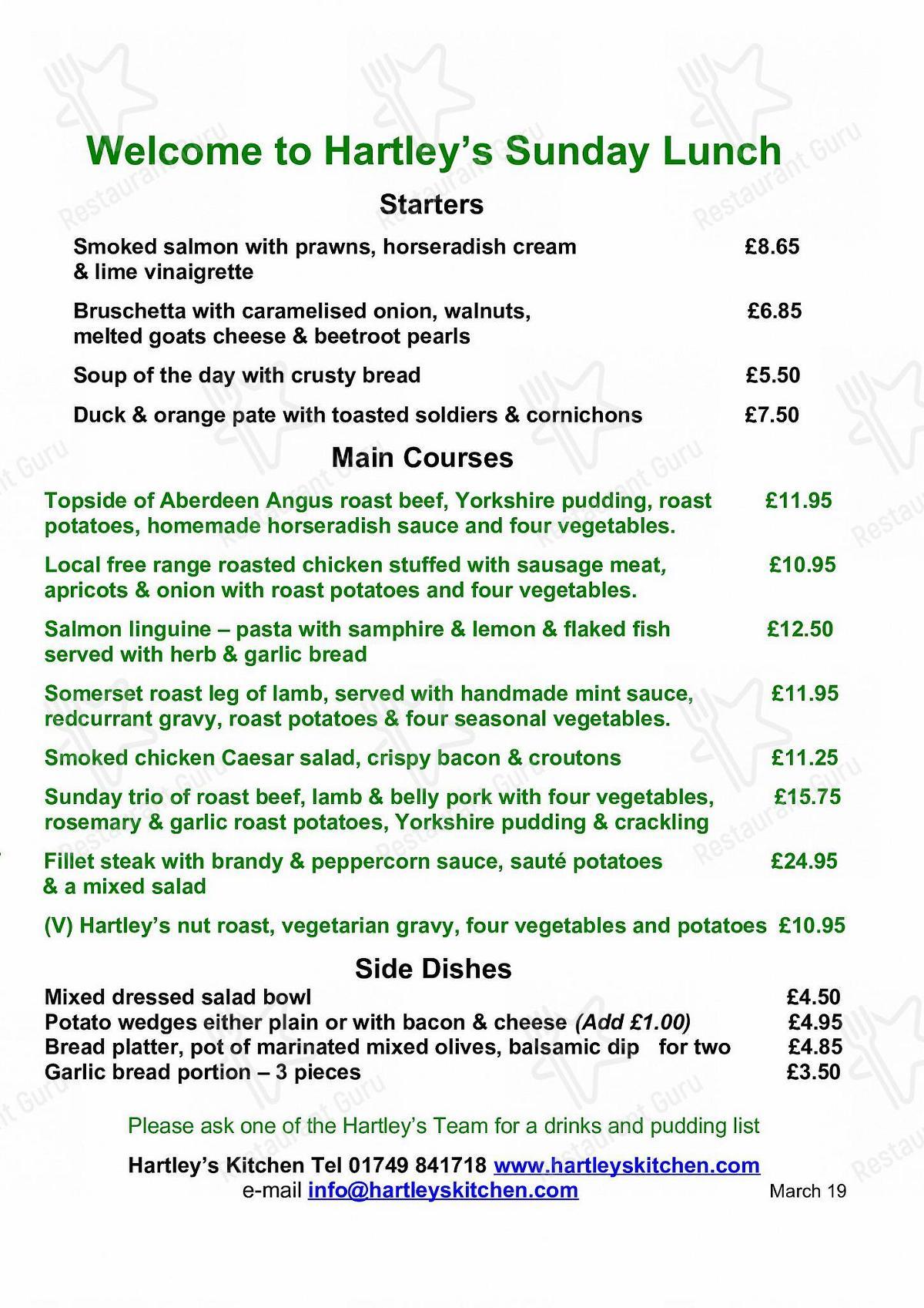 Hartleys Kitchen menu - dishes and beverages