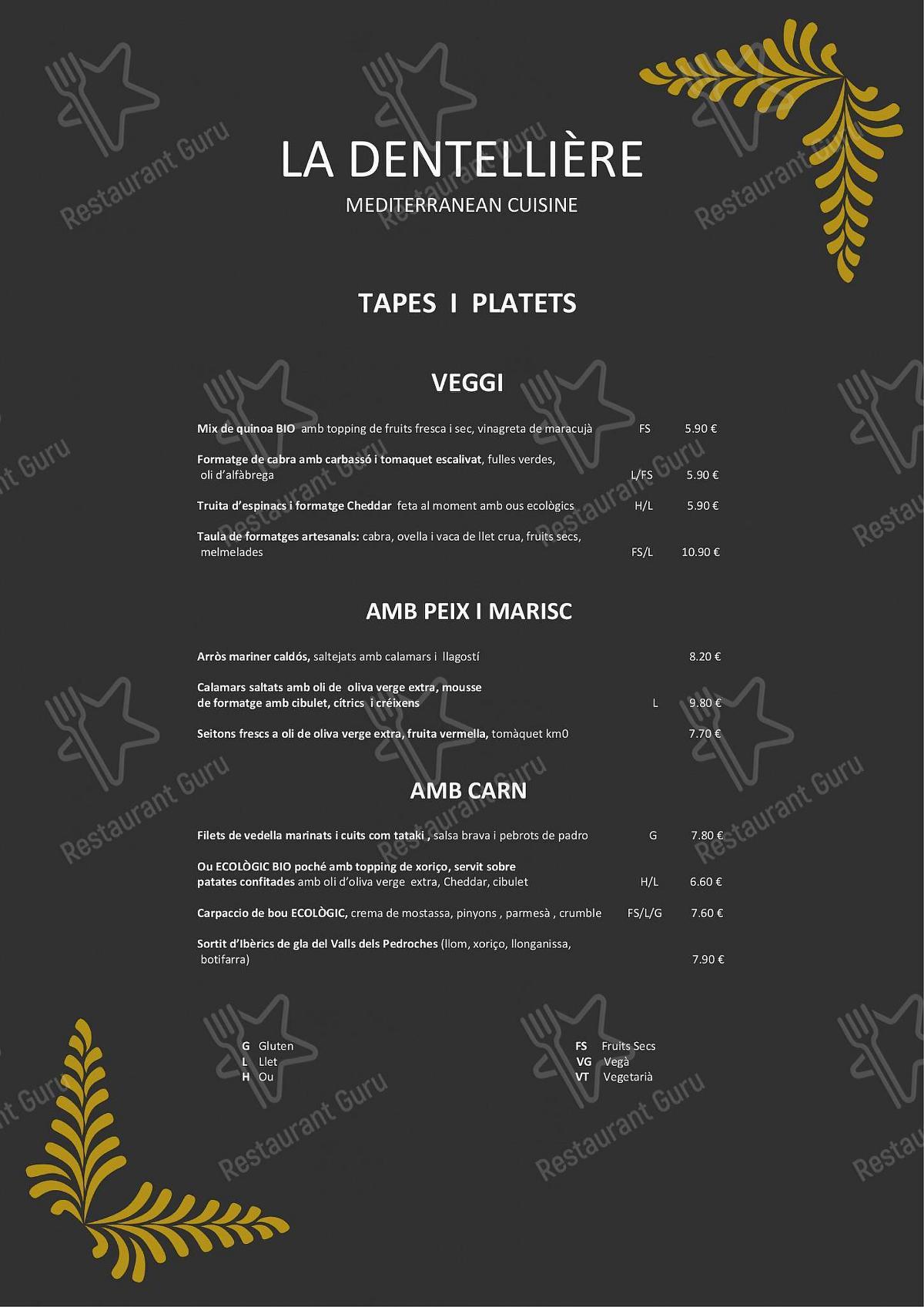 Menu for the La Dentellière restaurant