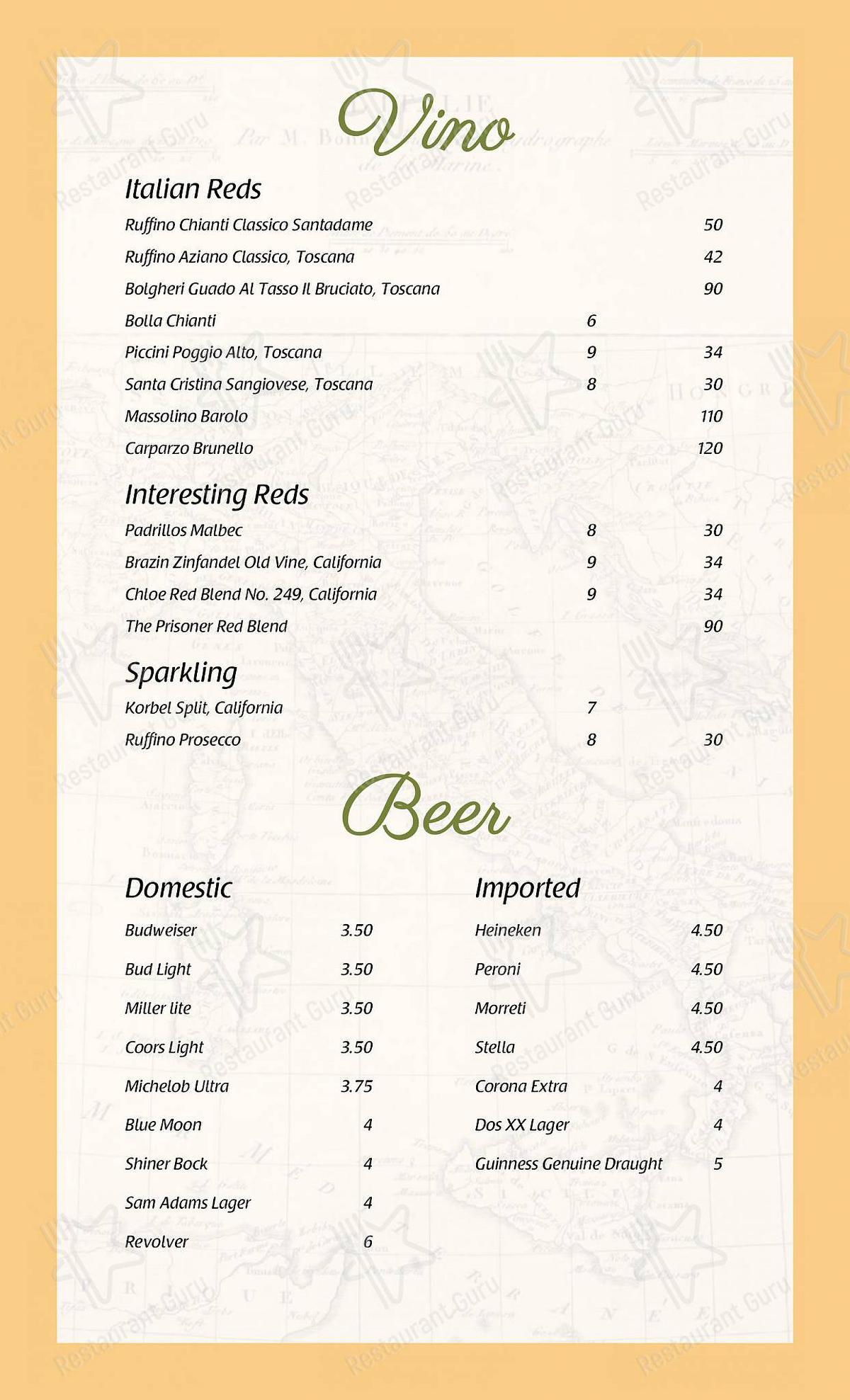 La Gondola menu - dishes and beverages