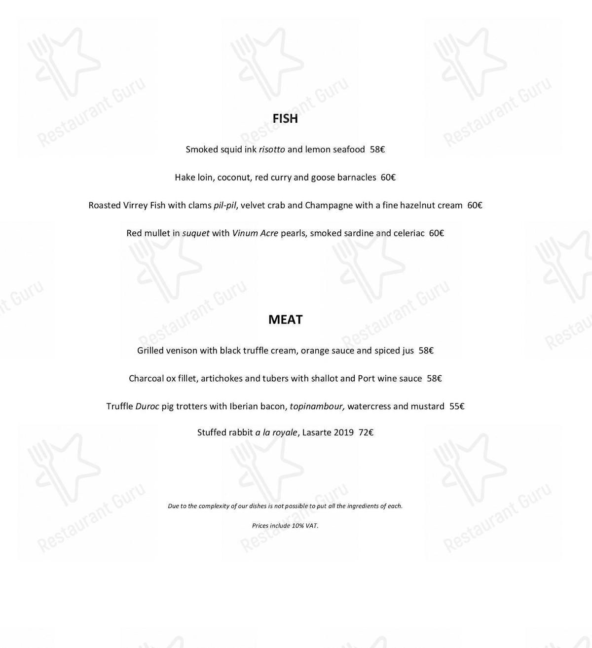 Lasarte menu - dishes and beverages