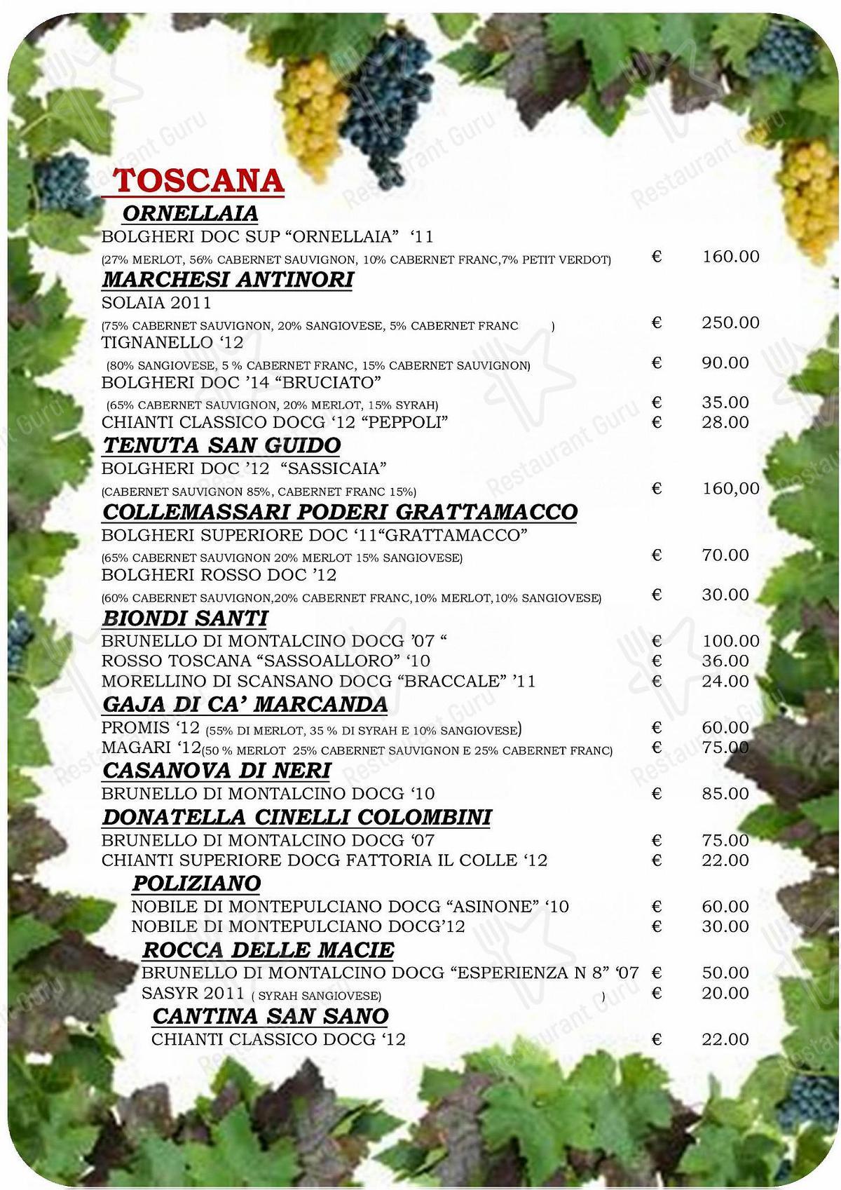 Menu di Taverna Coppapan & Pizzeria Le Dahu - piatti e bevande