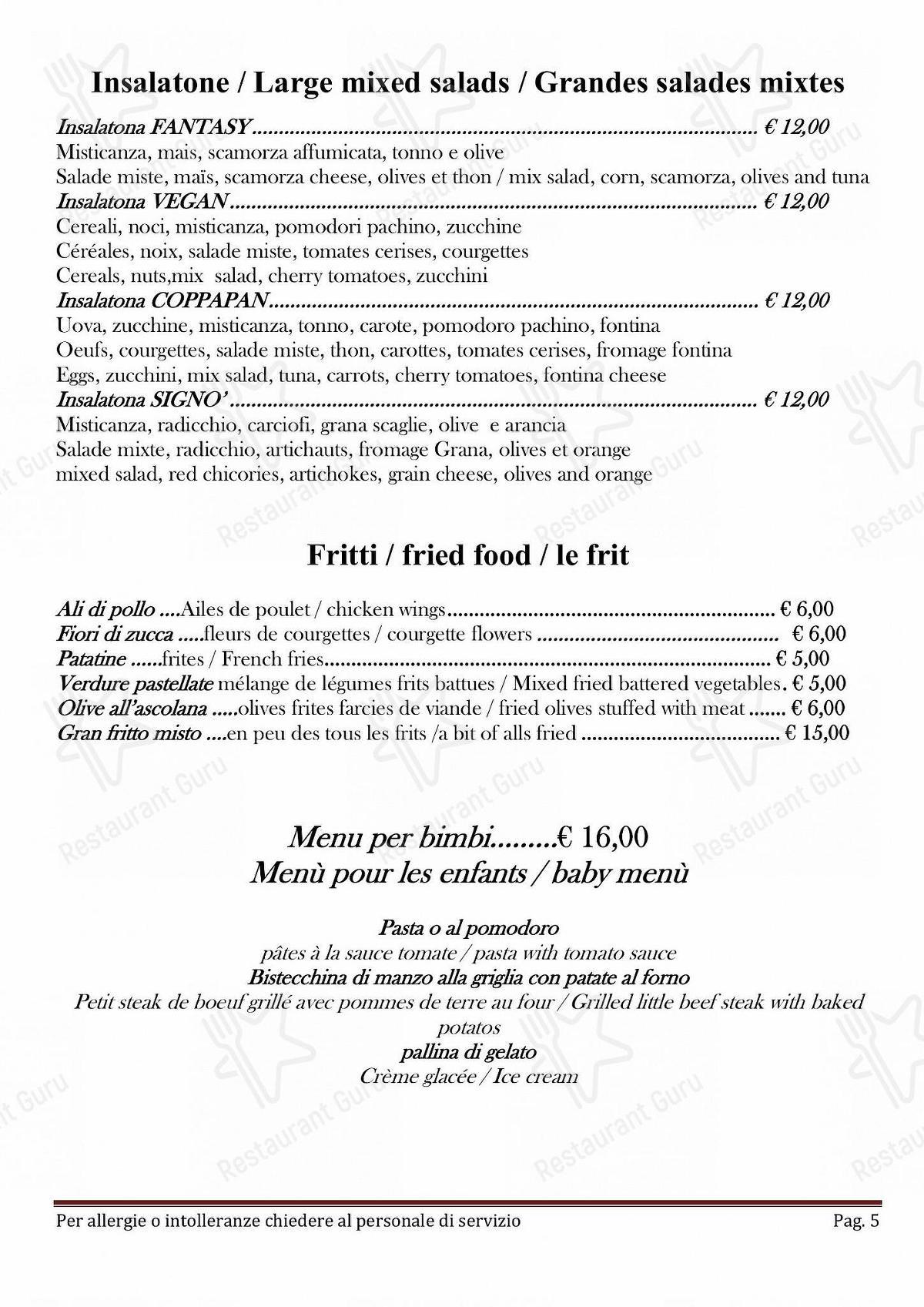 Menu di Taverna Coppapan & Pizzeria Le Dahu