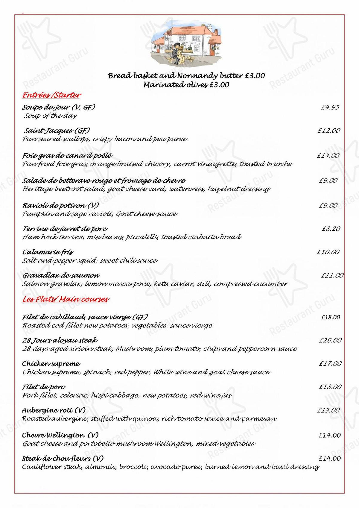 The Waggoners menu - dishes and beverages