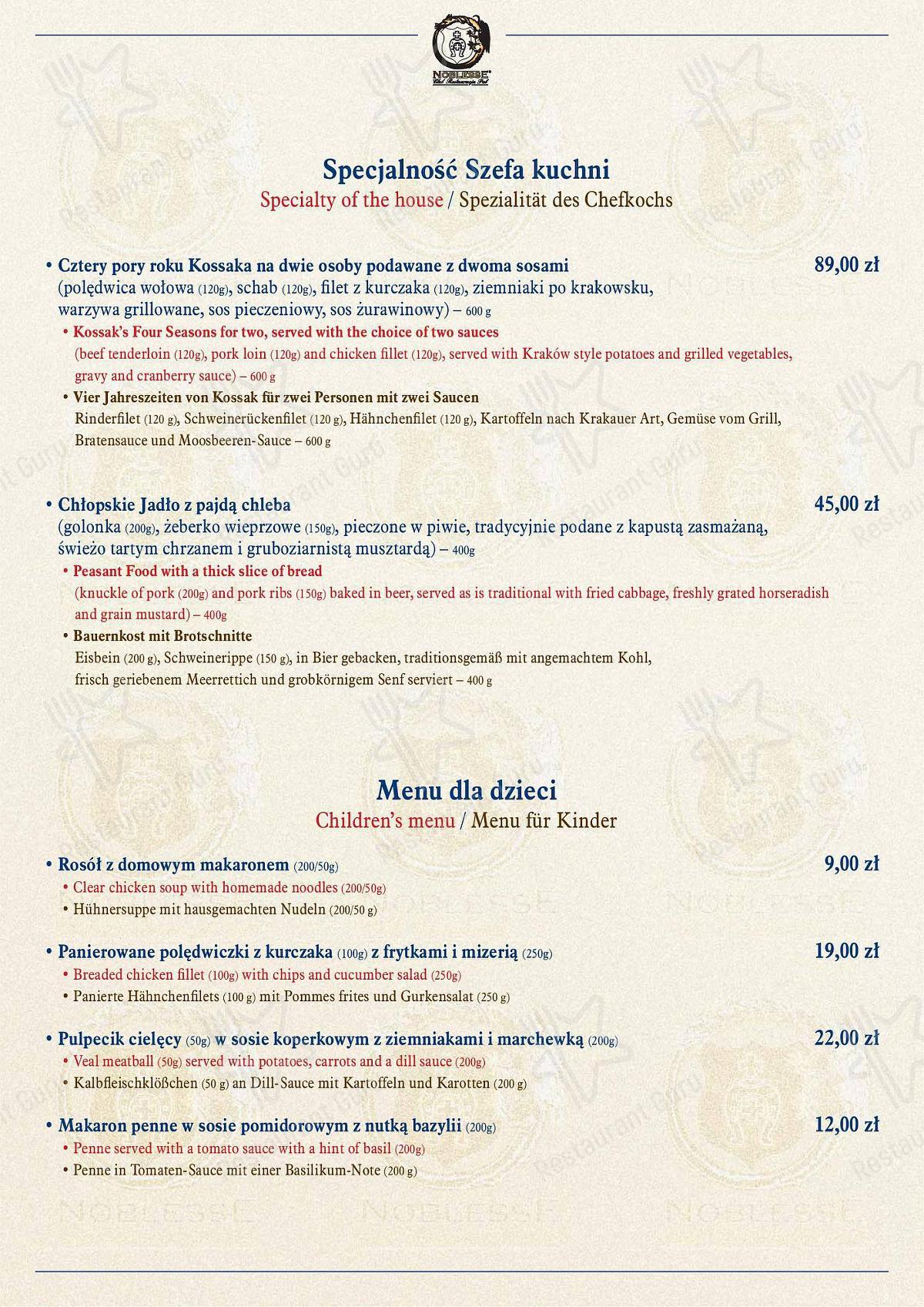 Carta de Restauracja Kossakówka - comidas y bebidas