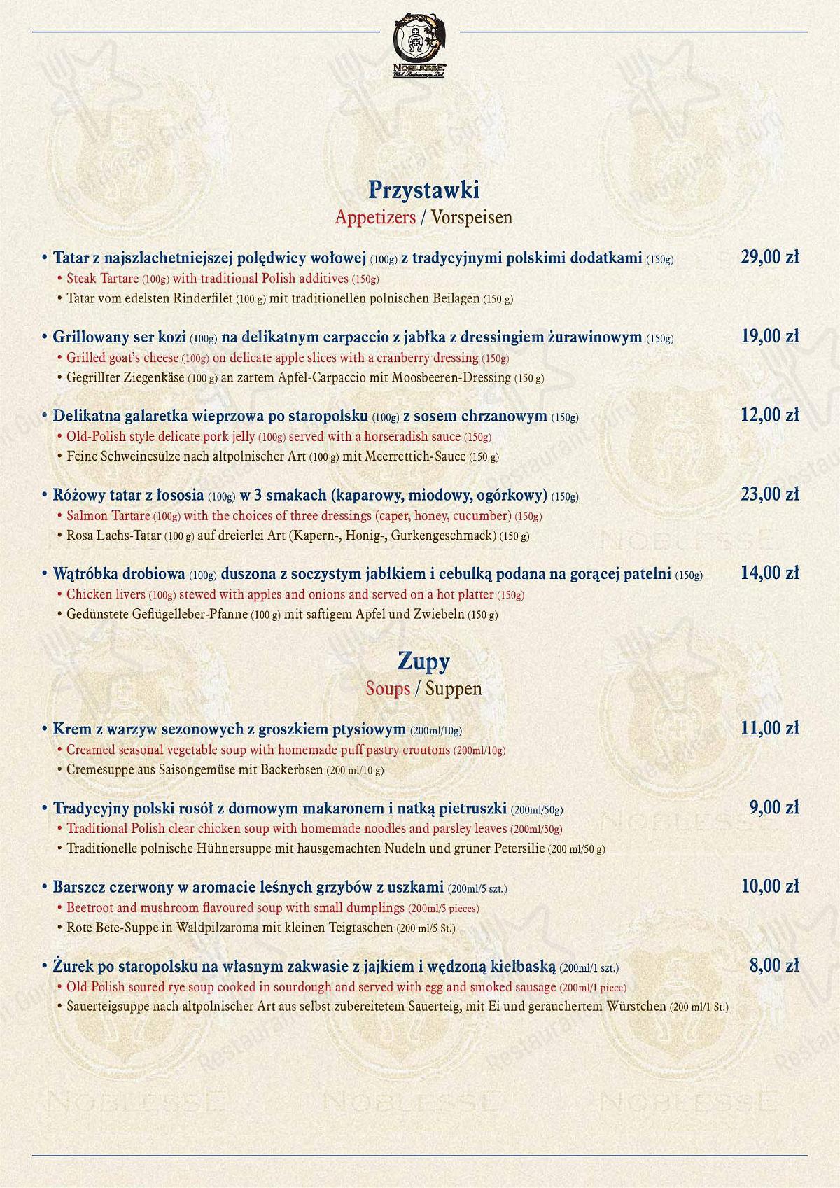 Mira la carta de Restauracja Kossakówka