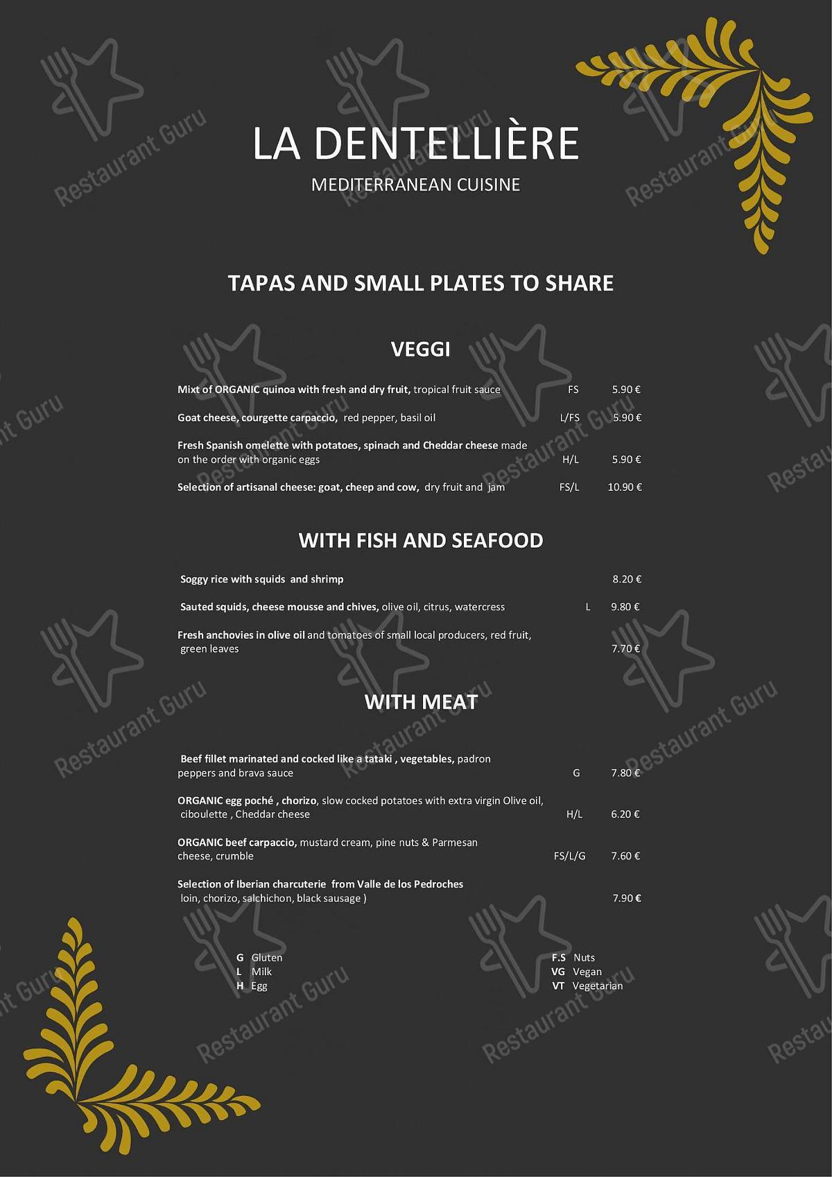 La Dentellière menu - meals and drinks