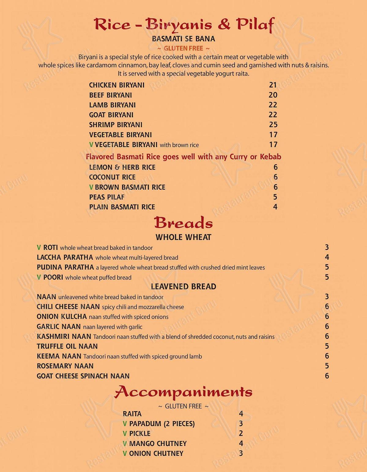 Saaz menu - dishes and beverages