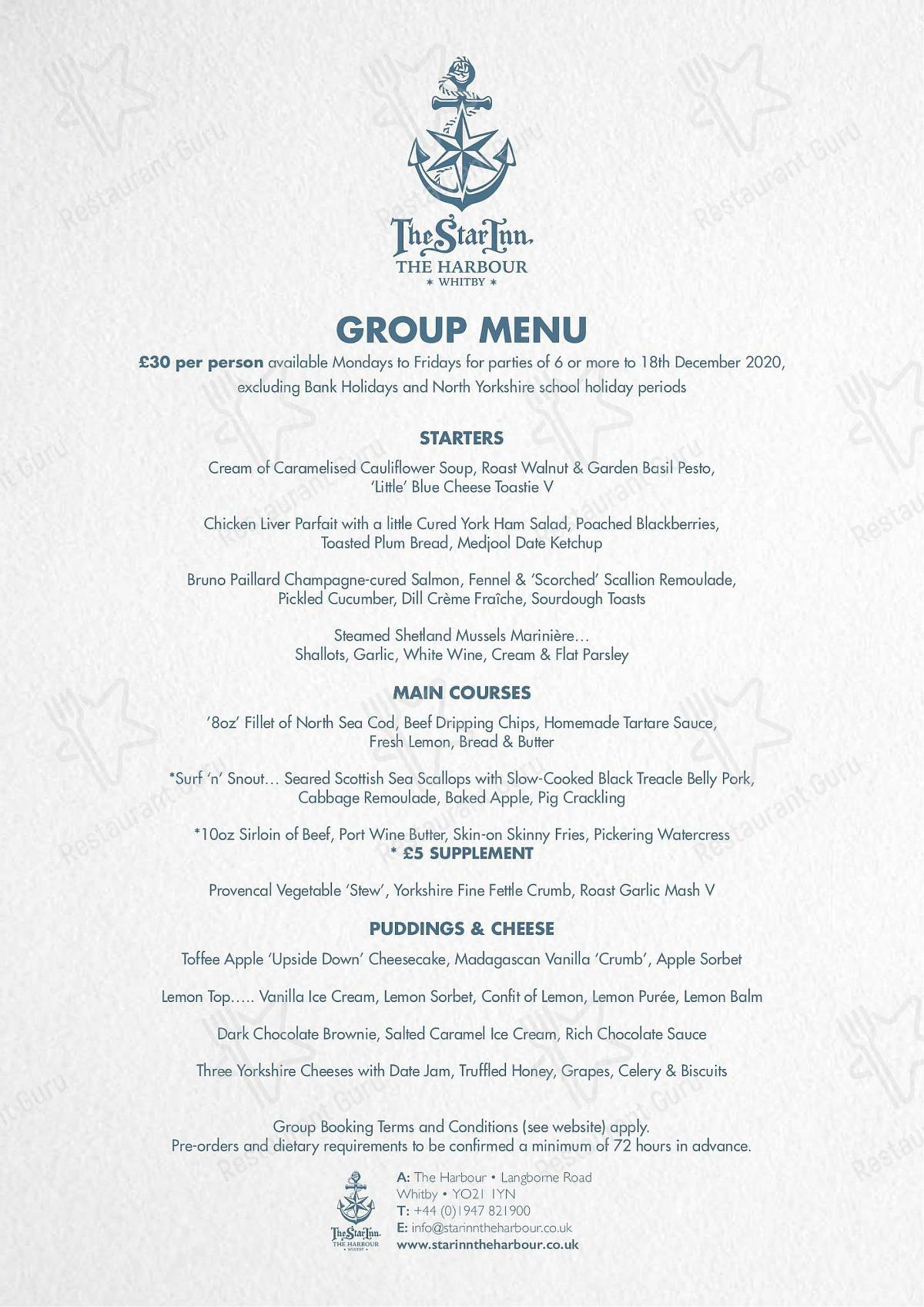 The Star Inn The Harbour menu - dishes and beverages