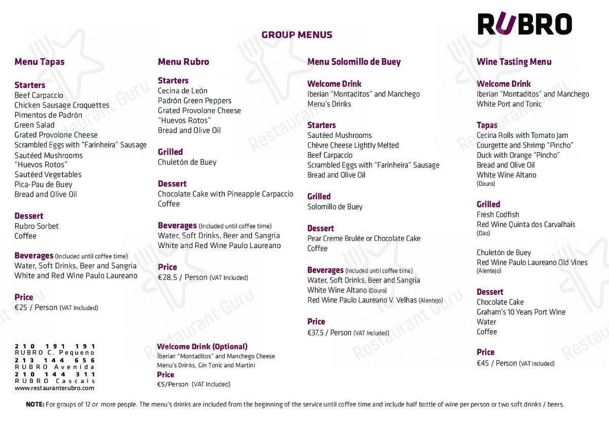 Menu for the Rubro pub & bar