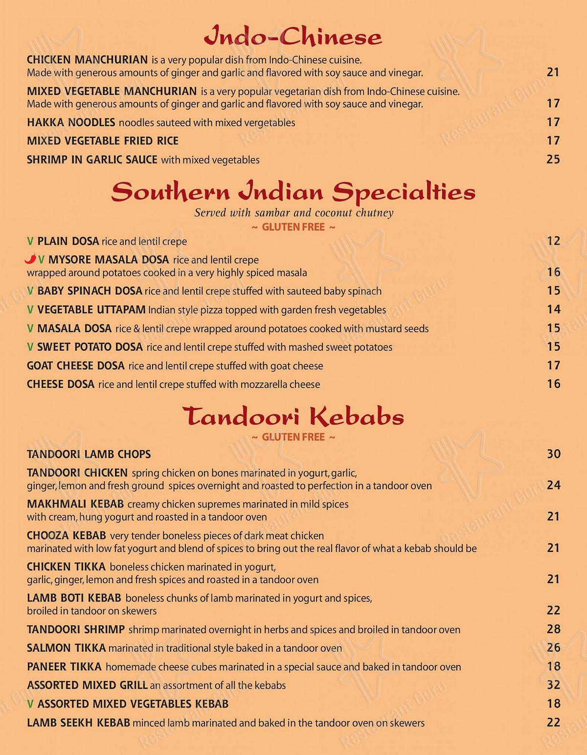 Check out the menu for Saaz