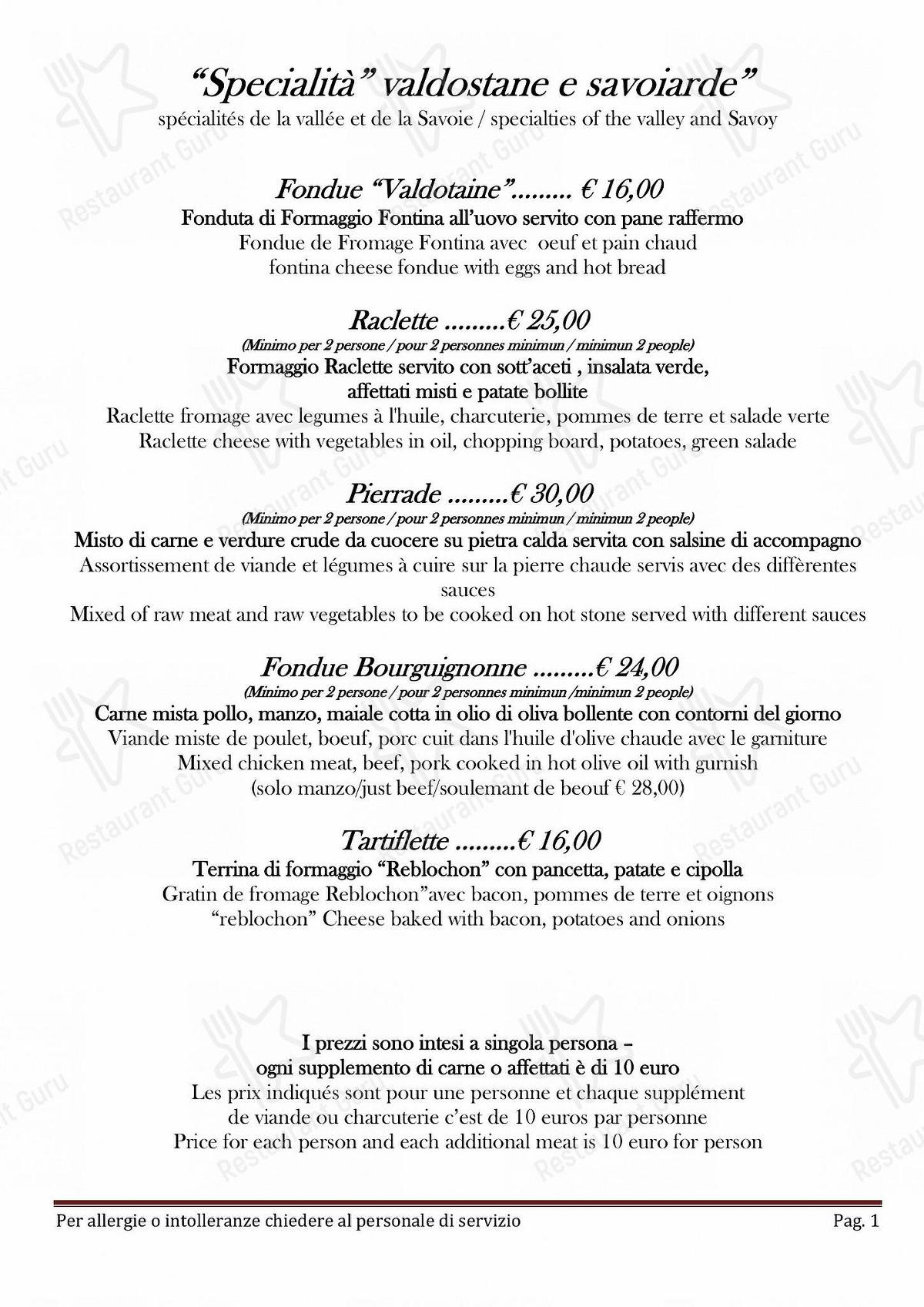 Guarda il menu di Taverna Coppapan & Pizzeria Le Dahu