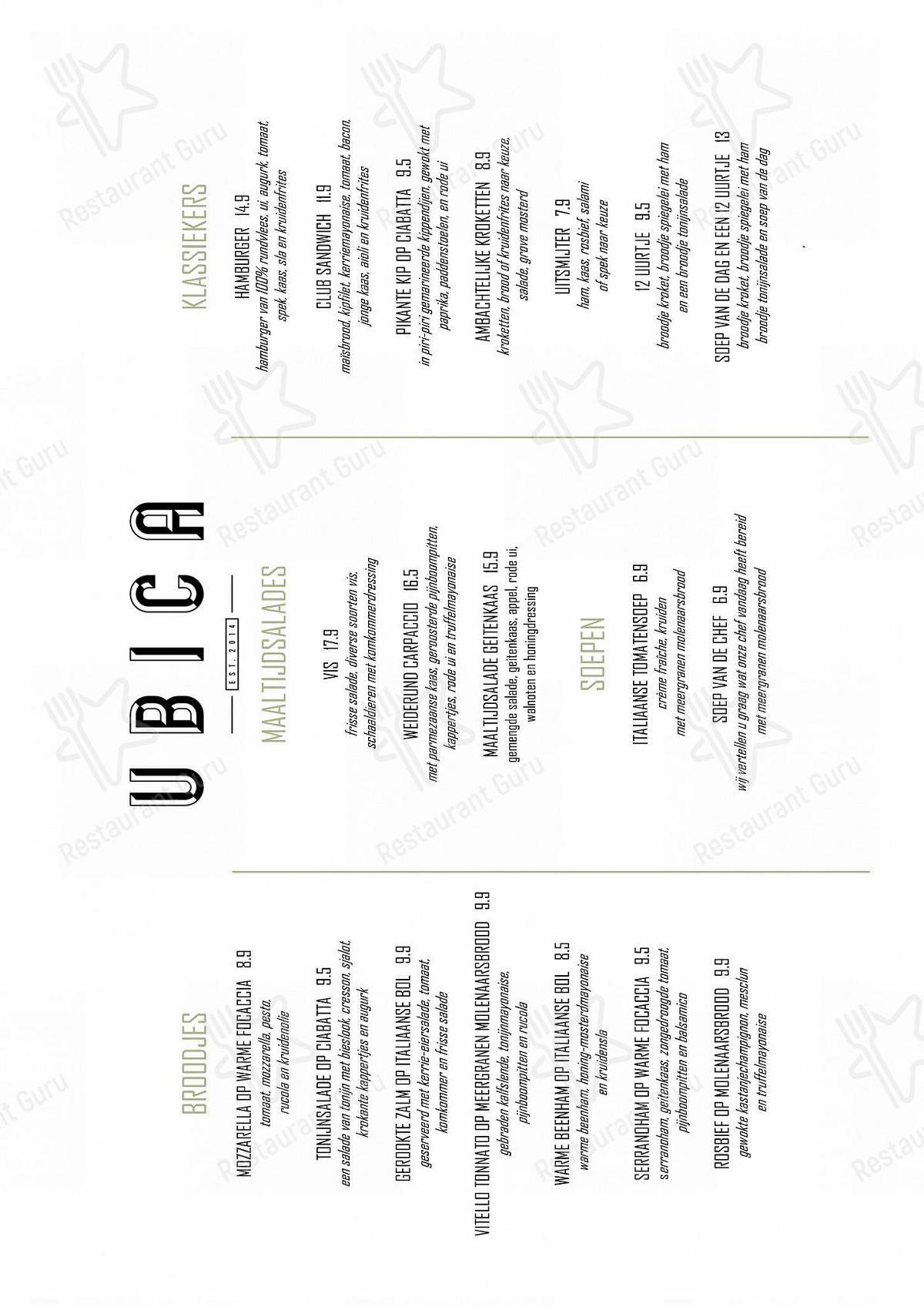 Ubica menu - meals and drinks